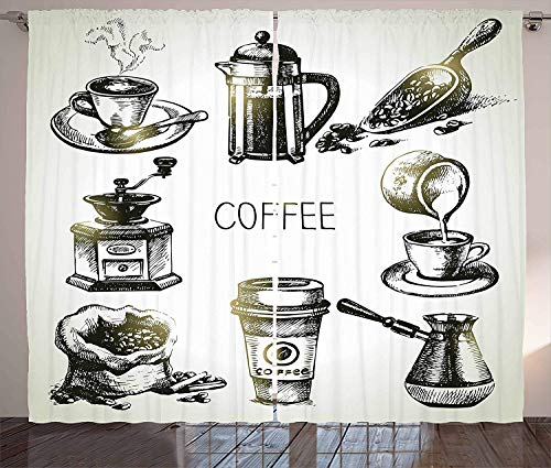 MLNHY Coffee Curtains, Brewing Equipment Doodle Sketch Grinder French Press Plastic Cup Scoop...