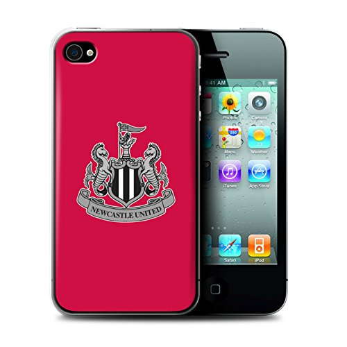 Officiel Newcastle United FC Coque / Etui pour Apple iPhone 4/4S / Mono/Blanc Design / NUFC Crête Football Collection Mono/Rouge