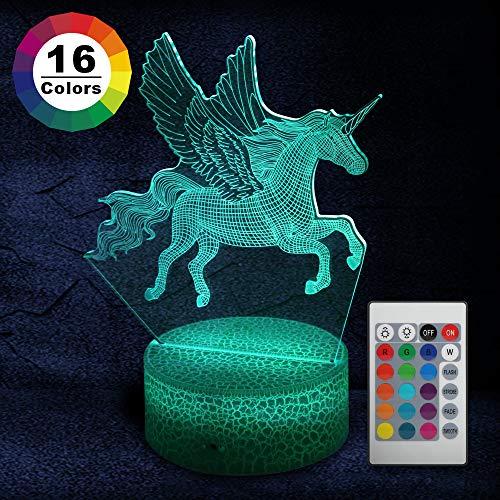 Parsion Licorne 3D Veilleuse, 16 Couleurs Cheval Lampe à...