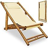 Liegestuhl Sonnenliege Bambusliege Gartenliege Strandliege Beige