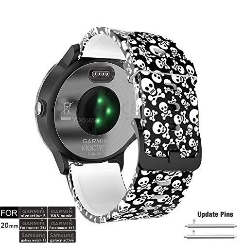 YOOSIDE - Correa de Silicona para Reloj Garmin Vivoactive 3, 20 mm, diseño de Calavera, Resistente al Agua, para Garmin Vivoactive 3, Forerunner 645/645 Music Vivomove HR