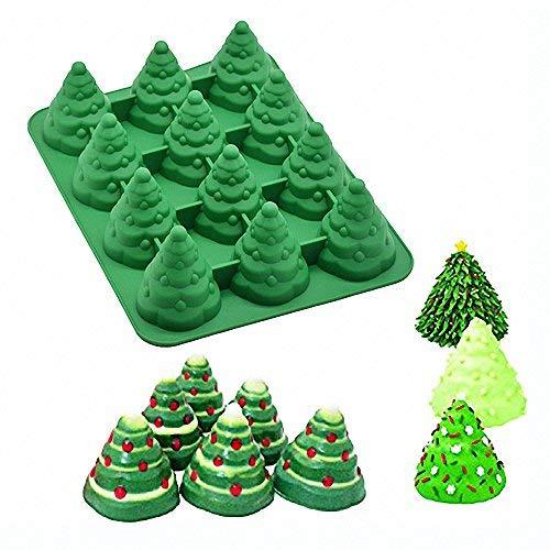 3D Weihnachtsbaum Silikon Form-moldfun Xmas Tree Pfanne Silikon Form für Mousse Kuchen Muffin Backen, Eis Cube Jello, Schokolade, Seife, Lotion, Bar, Bath Bomb, Kerze (zufällige Farbe) (Bar Seife Bath)