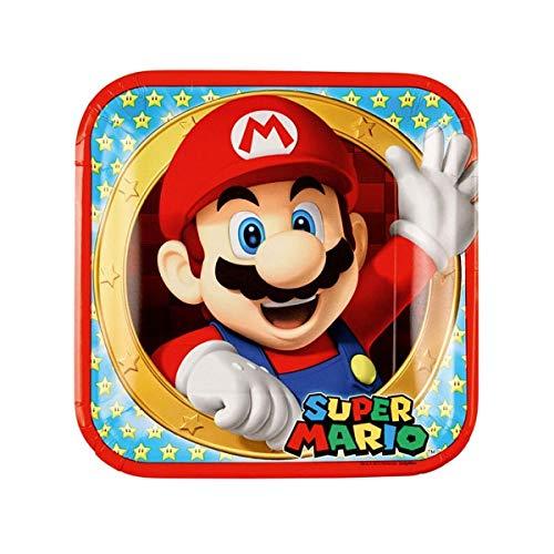 Les Colis Noirs LCN - 8 Assiette en Carton Super Mario 23cm - Décoration Table Fête - 507