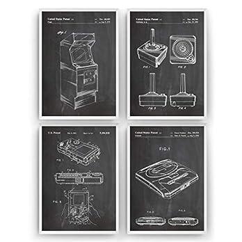 Gaming Patent Poster – Set Of 4 Prints – Spiele Jahrgang Bild Drucke Kunst Geschenke Zum Männer Frau Entwurf Dekor Art Blueprint Decor – Rahmen Nicht Enthalten