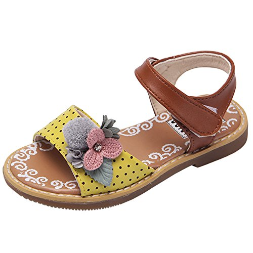 Oasap Girl's Fashion Peep Toe Floral Velcro Flat Sandals pink