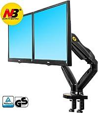 """NB North Bayou F180 17"""" - 27"""" Dual Monitor Tischhalterung mit Justierbare Gasfeder Monitor Halterung 2 Monitore Bildschirm Halterung 2-6.5kg Frei Drehbar 360° mit 2 USB2.0 VESA 75×75 100×100"""