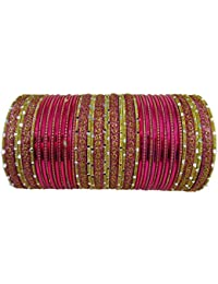Sparkle World Indian Traditional Bollywood Fashion Metal Bangle, Designer Bridal Fuchsia Wedding Ethnic Bangles...