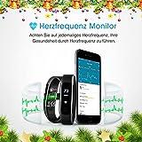 Fitness Tracker, Mpow IP68 Wasserdichte Smart Fitness Armbänder mit Pulsmesser, OLED Bildschirm Herzfrequenz Monitor Schwimmsportuhr Aktivitätstracker Podometer für Android iOS Smartphones z.B. iPhone 7/7 Plus/6S/6/5/5S, Samsung S8/S7, Huawei, LG, Sony, schwarz - 2