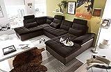 Ecksofa, Sofaecke, Wohnlandschaft, Couch, U-Form, Couchgarnitur, Polsterecke, Sofacouch, Polstergarnitur, braun, Webstoff, Kunstleder