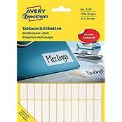 Avery Zweckform 3320 Vielzweck Etiketten (1.144 Stück, Premium, Papier matt, 32 x 10 mm) 26 Blatt weiß