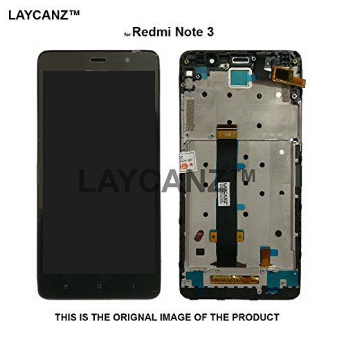 LAYCANZ Bezel Frame LCD Display Screen, Tempered Glass, Touch Screen Glass Digitizer and Assembly Kit for Xiaomi Redmi Note 3 (Black)