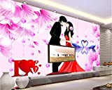 Mznmcustom Mural Photo 3D Room Wallpaper Love Couples Swan Picture Home Decor Painting 3D Wall Murals Wallpaper for Walls 3 D-280X200Cm