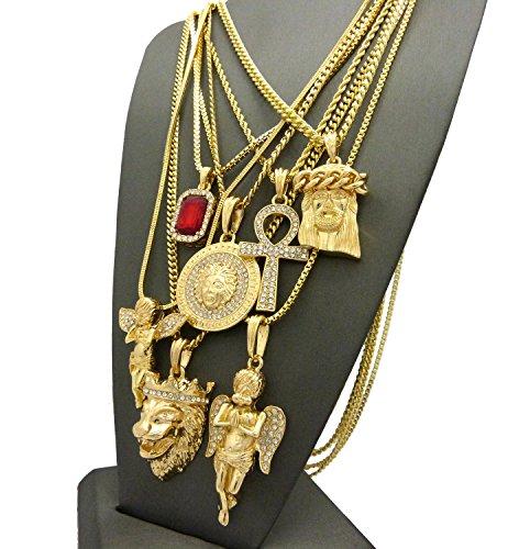 Colliers variés de ton or à pendentifs Hip Hop 7 pièces #1835 ton or