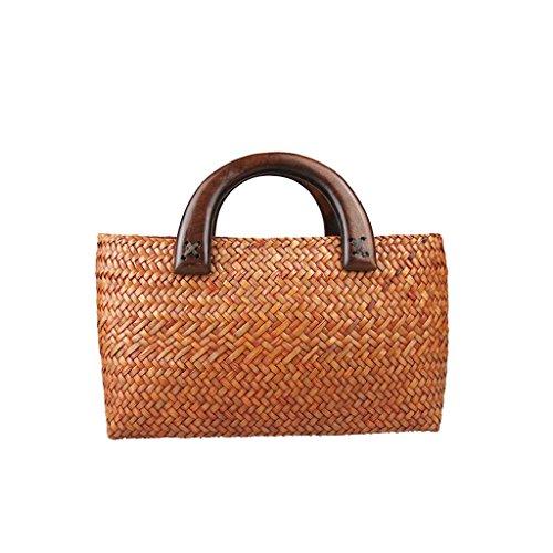 LYY.YY Frau Bambus Einkaufstasche Strand Reisetaschen Gewebte Taschen Handgemachte Kastanienbraun Handtaschen Große Kapazität Vintage Glänzend Griff Strukturiert (11,45 * 6,32 * 3,16 Zoll) (Strukturierte Bambus)