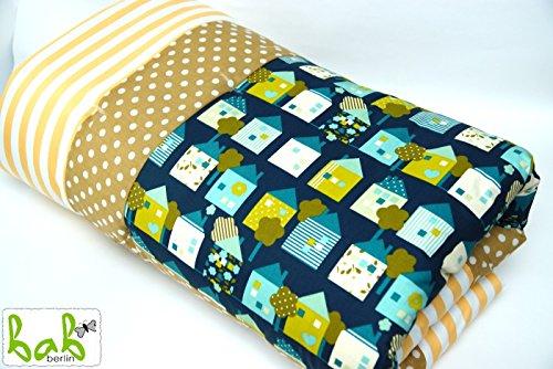 Baby Krabbeldecke Spieldecke und Laufgittereinlage 100x120cm weich gepolstert Grün/Gelb für Jungen/Mädchen Handmade in Germany -