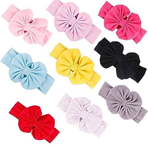 GBATERI 9 Packung Baby Mädchen Groß Bogen Baumwolle Baby Stirnbänder Soft Turban Bogen geknotet Haarband Headwrap Bogen-Haar-Reifen für (Mädchen Bad-accessoires)