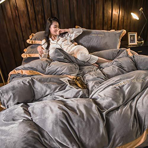 Generic Winter Dicke Korallen Fleece Flanell Doppelseitige Bettwäsche Bettbezug Bettwäsche Kissenbezug 4Er-Set@1_1,8 M -