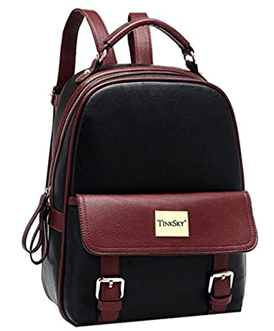Tinksky Women Leather Backpack Leisure Travel Vintage Outdoor Backpack for Teenage Girls
