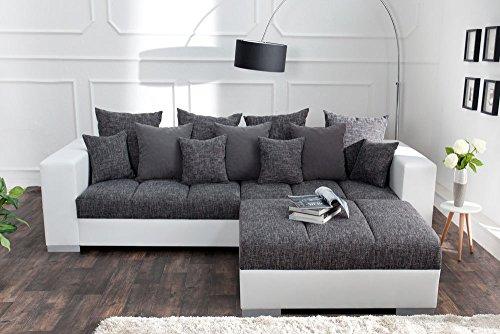 Design XXL Sofa BIG SOFA ISLAND in weiß grau charcoal Strukturstoff inkl. Kissen - 4