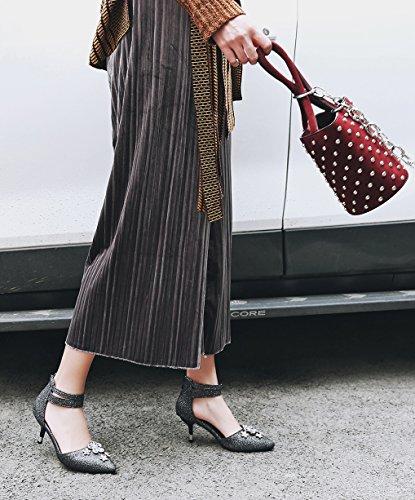 Oaleen Femme Escarpins Strass Bride Cheville Talon Moyen Chaussures Sandales Bout Pointu noir classique