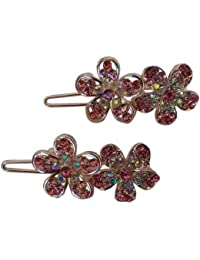 Pooja Trendz 2 Pcs Classic Party Wear Pink Color Stone Flower Small Size Slider Lock Hair Pin-Hair Clip.