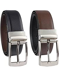 Frackson 1 Pcs Reversible PU Leather Brown and Black Belt for Men's Gent's Boy's Casual and Formal Belt- 35MM