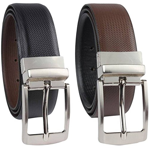 Kesari's Reversible Black & Brown Pu Leather(Leather like strength )Single Casual and Formal Belt for Men and Boys (One Year Guarantee)-best for gifting-(Pack of one belt)
