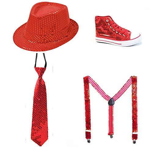 Pailletten Schuh, Pailletten Hut, Pailletten Krawatte, Pailletten Hosenträger Glitzer ROT (Stiefel Pailletten Schuhe)
