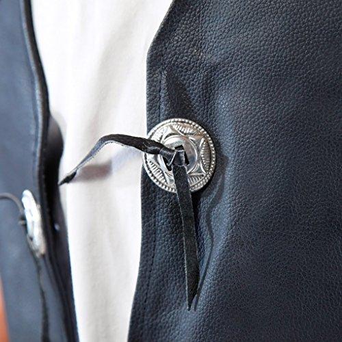 lemoko Homme Moto Bike Gilet Gilet de gilet de moto en cuir avec lacets et Conchos Taille S à 3X L Noir - Noir