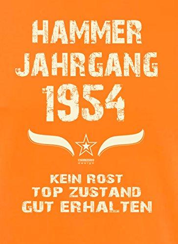 Geschenk Set : Geschenkidee 63. Geburtstag ::: Hammer Jahrgang 1954 ::: Herren T-Shirt & Urkunde Geburtstagskind des Jahres für Ihren Papa Vater Opa Großvater ::: Farbe: schwarz Orange
