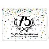 Große Glückwunschkarte zum 75. Geburtstag XXL (A4) Modern/mit Umschlag/Edle Design Klappkarte/Glückwunsch/Happy Birthday Geburtstagskarte/Extra Groß/Edle Maxi Gruß-Karte