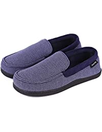 436eab6bbe75c2 Men s Comfort Memory Foam Moccasin Slippers Breathable Cotton Knit House  Shoes w Anti-Skid