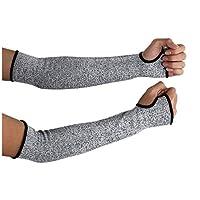 Aimire 1 Pair Kevlar Sleeve 35cm Arm Protection Sleeve Cut Resitant Burn Resistant Anti Abrasion Safety for Garden Kitchen Farm Work Gloves