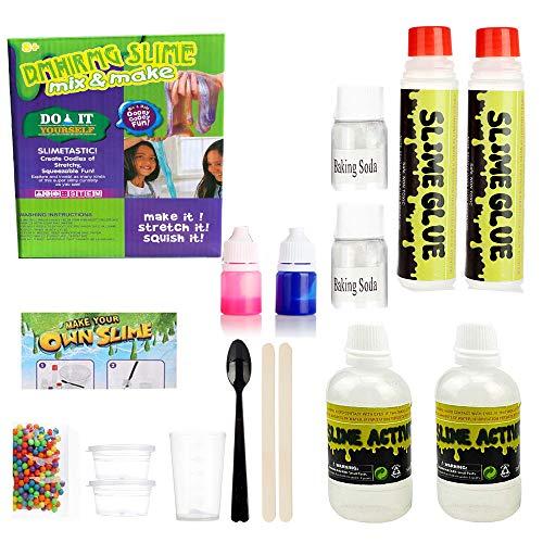 DIY El Kit de fabricación de Baba más Popular, Original Haz tu Propio Limo, Diversión mágica para niñas Regalo de niños, Activador de Limo Grande DIY Set Bolsas de Baba, Paquete Verde Mixto púrpura