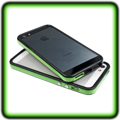 kwmobile TPU Silikon Bumper Hülle für Apple iPhone SE / 5 / 5S - Protection Rahmen Schutzhülle mit Aluknöpfen in Grün .Grün1
