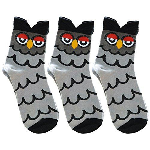 Produktdetails :    Material: 80% Baumwolle.  Größe:  Einheitsgröße. Geeignet für die Füße Größe: EU 34-39.  Das Paket beinhaltet:  3 Paar Socken.   Eigenschaften:   + Sie sind Antirutsch und saugfähig. Schön Süßigkeit-Farbe und Cartoon-Tiere Charak...