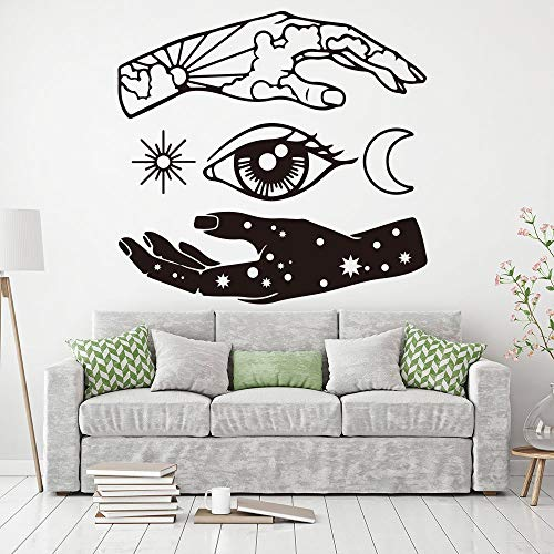 Aufkleber Tapete Wohnzimmer Dekoration Wandaufkleber Hand Mond Sonne Auge Stern Wandtattoo Abstrakte Bedrooms1-009 44x42 cm ()