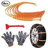 Per Anti-Rutsch Schneeketten Set mit Handschuhen Nylon-Notfall-Anti-Rutsch-Kette-Auto-Riemen-Riemen für Schnee Road -10pcs