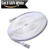 Cavo di rete 15m - CAT6 Ethernet Gigabit Lan (RJ45) - 10/100/1000Mbit/s - Cavo patch - UTP - compatibile con CAT.5 / CAT.5e / CAT.7 - Switch / Router / Modem / Patchpannel / Access Point / campi patch – Bianco