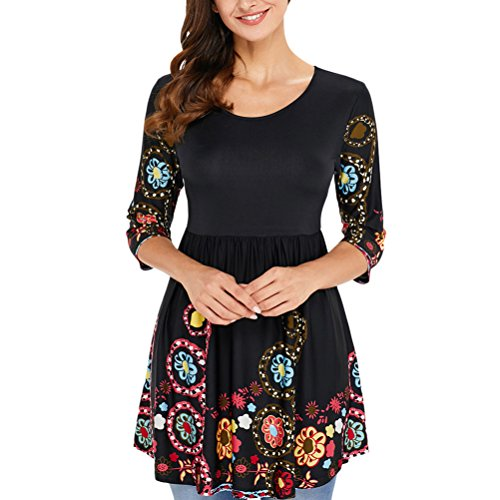 Zhuhaitf Beaux vêtements Fashion Ladies Shirt Round Neck Prints Floral T shirts Dress Hem Special Designer Tee for Women Black