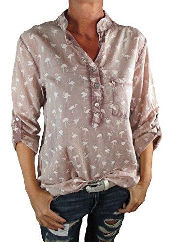 Damen Bluse Reine Baumwolle Vintage-Look Langarm Tunika Shirt Fischerhemd Batik Flamingo-Muster Loose-Fit (one size, altrose) (Batik-bluse)