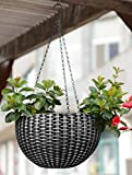#5: Story@Home Hanging Flower Pot, Plant Containers Basket with Hook Chain for Home Gardener Grower Planter Indoor/Outdoor Decoration - Silver
