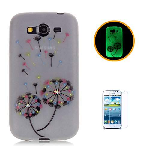 CaseHome Samsung Galaxy Grand Neo Plus (I9060) Luminous Hülle (Mit Frie Displayschutzfolie) Leuchtende Silikone Rückhülle Für iPhone 6 6s Plus 5.5 Zoll Zoll Silikon Etui Handy Hülle Weiche Transparent Bunte Löwenzahn