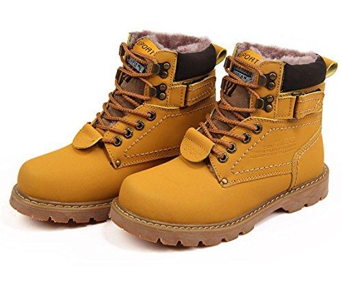 bottes de Martin à lacets homme plat Semelle en caoutchouc bottes de neige d'hiver marron brillant