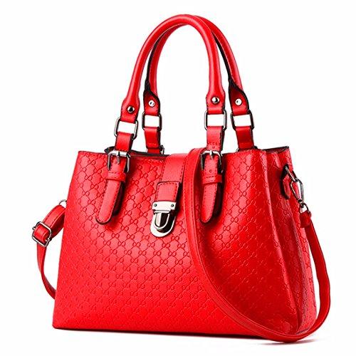 Signore di mezza età moda borsa messenger bag borsa a tracolla, rosso Rosso