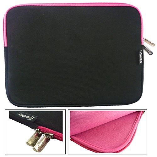 Emartbuy® Schwarz / Rosa Wasserdicht Neopren weicher Reißverschluss Kasten Hülsen Abdeckungs Mit Rosa Interieurundzip geeignet für Dell Latitude 3550 15.6 Zoll Laptop ( 15-16 Zoll Laptop / Notebook / Ultrabook )