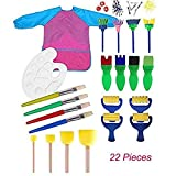 Miminuo Kids Paint set, 22PCS Kids Paint set spugnette per Early Learning Art fai da te, con palette e grembiule pittura strumenti