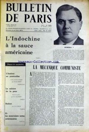 BULLETIN DE PARIS [No 77] du 01/04/1955 - L'INDOCHINE A LA SAUCE AMERICAINE - GEORJI MALENKOV - LA MECANIQUE COMMUNISTE - MICHEL DEON - LE SALAIRE DE LA PEUR - FLANDIN - BALZAC - J.L. CURTIS. par Collectif