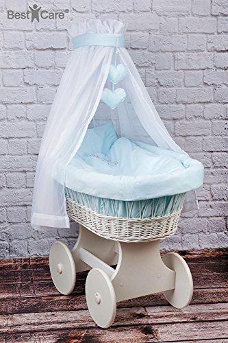 BestCare® - Culla con ruote bianca con materasso AloeVera d'alta qualità - arredo completo ben pensato per un sonno sano e sicuro ed un comfort ottimale, Modello:Blu - grandi ruote