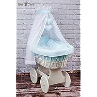 BestCare® - Culla con ruote bianca con materasso AloeVera d'alta